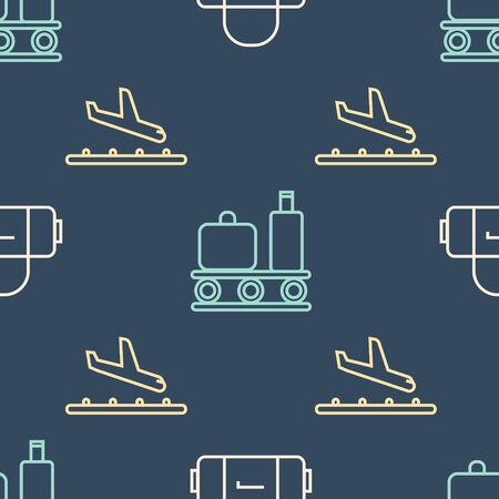 Set line Suitcase, Plane landing and Airport conveyor belt with suitcase on seamless pattern Иллюстрация