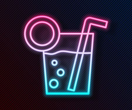 Glowing neon line Cocktail icon isolated on black background. Vector Illustration