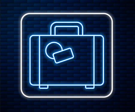 Glowing neon line Suitcase for travel icon isolated on brick wall background. Traveling baggage sign. Travel luggage icon