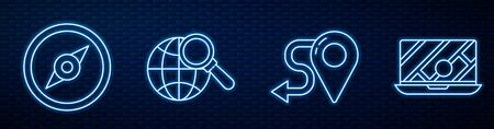Set line Route location, Compass, Magnifying glass with globe and City map navigation. Glowing neon icon on brick wall. Vector Ilustracja