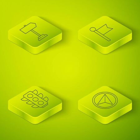 Set Isometric Location marker, Traffic light, Infographic of city map navigation and Road traffic sign icon. Vector