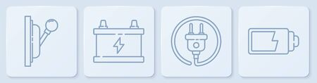 Set line Electrical panel, Electric plug, Car battery and Battery charge level indicator. White square button. Vector