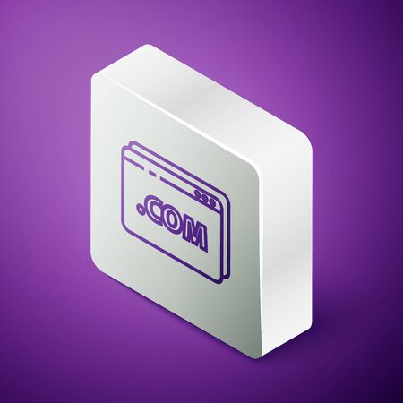 Isometric line Website template icon isolated on purple background. Internet communication protocol. Silver square button