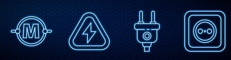 Set line Electric plug, Electric circuit scheme, High voltage and Electrical outlet. Glowing neon icon on brick wall. Vector Stock Illustratie