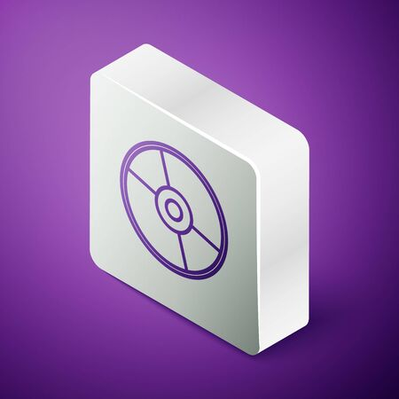 Isometric line CD or DVD disk icon isolated on purple background. Compact disc sign. Silver square button  イラスト・ベクター素材