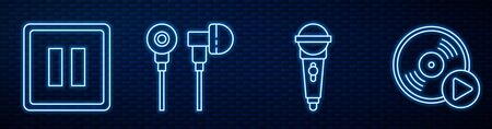 Set line Microphone, Pause button, Air headphones, Vinyl disk and Drum. Glowing neon icon on brick wall