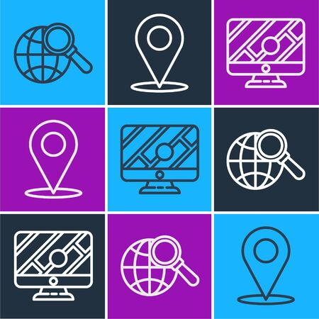 Set line Magnifying glass with globe, Monitor with location marker and Location icon Ilustracja