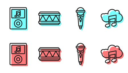 Set line Microphone, Music player, Drum and Music streaming service icon  イラスト・ベクター素材