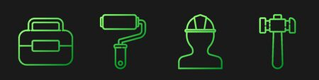 Set line Worker safety helmet, Toolbox, Paint roller brush and Hammer. Gradient color icons. Vector