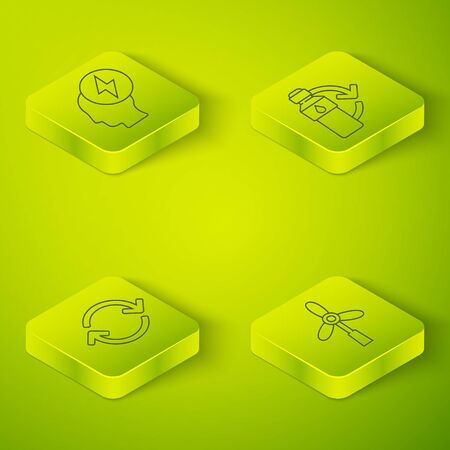 Set Isometric Recycling plastic bottle, Refresh, Wind turbine and Head and electric symbol icon