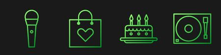 Set line Cake with burning candles, Karaoke microphone, Shopping bag with heart and Vinyl player with a vinyl disk. Gradient color icons. Vector  イラスト・ベクター素材