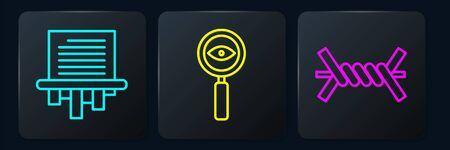 Set line Paper shredder, Barbed wire and Magnifying glass Search. Black square button Иллюстрация