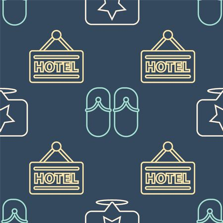 Set line Map pointer with star, Signboard with text Hotel and Flip flops on seamless pattern Ilustracja
