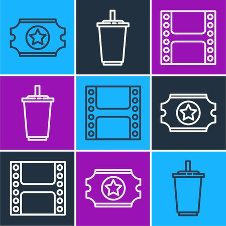 Set line Cinema ticket, Play Video and Paper glass with water icon. Vector