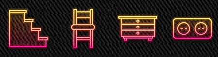 Set line Chest of drawers, Staircase, Chair and Electrical outlet. Glowing neon icon. Vector Ilustrace
