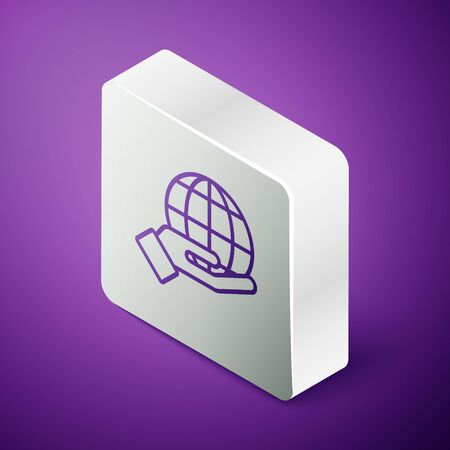 Isometric line Human hand holding Earth globe icon isolated on purple background. Save earth concept. Silver square button. Vector Illustration