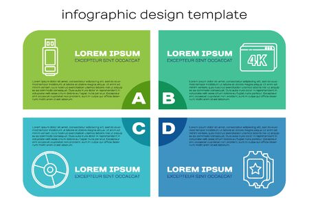 Set line CD or DVD disk, USB flash drive, Cinema ticket and Online play video with 4k. Business infographic template. Vector  イラスト・ベクター素材