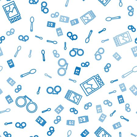 Set line Handcuffs, Open matchbox and matches and Heroin in a spoon on seamless pattern. Vector