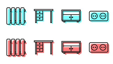 Set line Chest of drawers, Heating radiator, Office desk and Electrical outlet icon. Vector