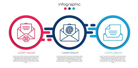 Set line Delete envelope, Mail and e-mail and Drawer with document. Business infographic template. Vector