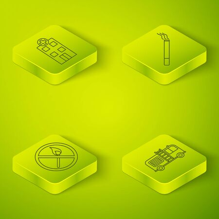 Set Isometric Cigarette, No fire match, Fire truck and Medical hospital building icon. Vector Ilustrace
