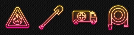 Set line Ambulance and emergency car, Fire flame in triangle, Fire shovel and Fire hose reel. Glowing neon icon. Vector