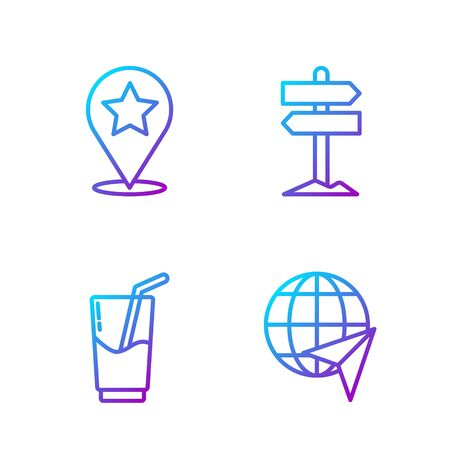 Set line Globe with flying plane, Cocktail and alcohol drink, Map pointer with star and Road traffic signpost. Gradient color icons. Vector