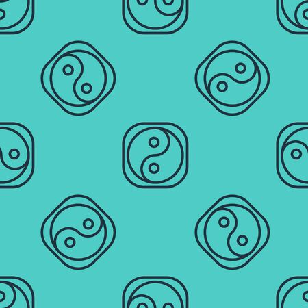 Black line Yin Yang symbol of harmony and balance icon isolated seamless pattern on green background. Illustration