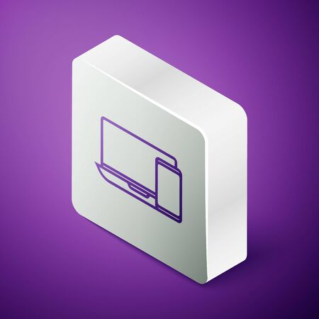 Isometric line Computer monitor and mobile phone icon isolated on purple background. Earnings in the Internet, marketing. Silver square button. Illustration