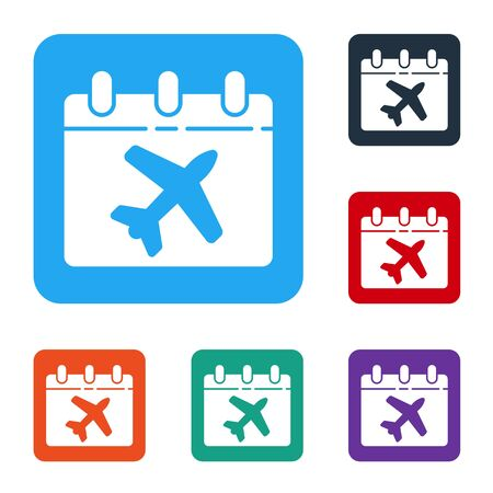 White Travel planning calendar and airplane icon isolated on white background. A planned holiday trip. Set icons in color square buttons. Vector