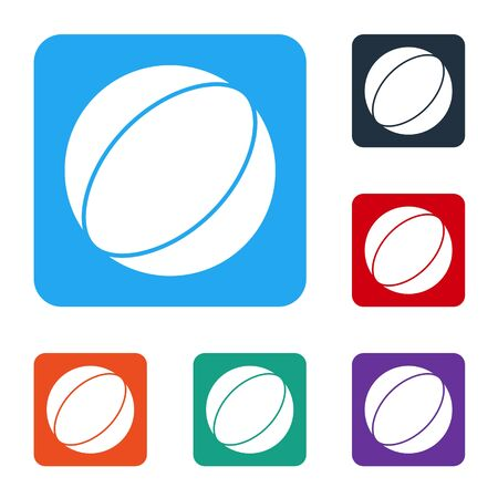 White Beach ball icon isolated on white background. Set icons in color square buttons. Vector