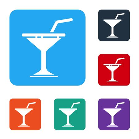 White Martini glass icon isolated on white background. Cocktail icon. Wine glass icon. Set icons in color square buttons. Vector