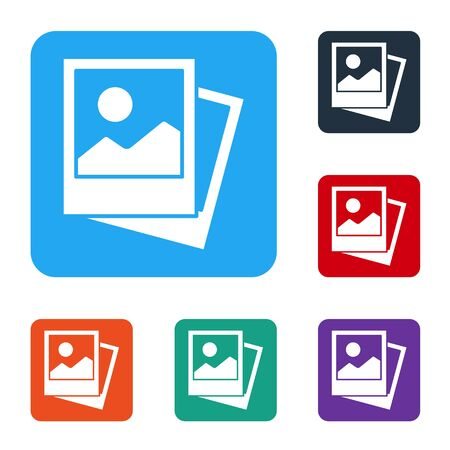 White Photo icon isolated on white background. Set icons in color square buttons. Vector