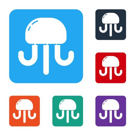 White Jellyfish icon isolated on white background. Set icons in color square buttons. Vector