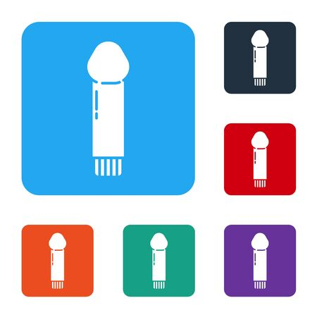 White Dildo for games icon isolated on white background. Sex toy for adult. Vaginal exercise machines for intimate. Set icons in color square buttons. Vector