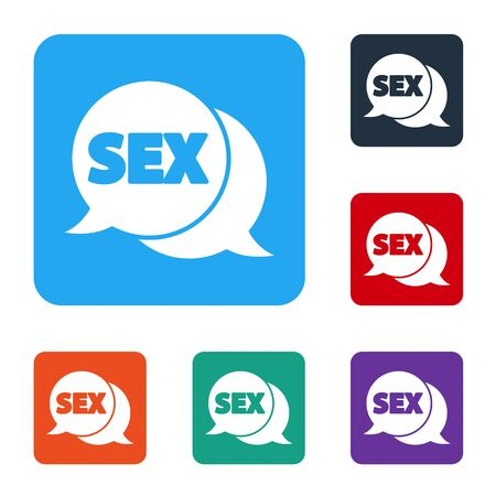 White Speech bubble with text Sex icon isolated on white background. Adults content only icon. Set icons in color square buttons. Vector Illusztráció
