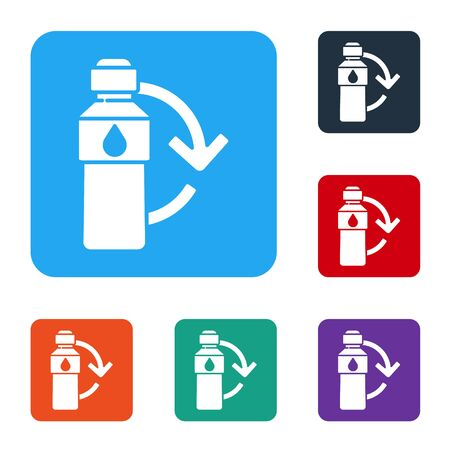 White Recycling plastic bottle icon isolated on white background. Set icons in color square buttons. Vector