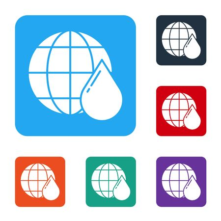 White Earth planet in water drop icon isolated on white background. Saving water and world environmental protection. Set icons in color square buttons. Vector
