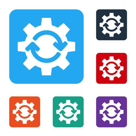 White Gear and arrows as workflow concept icon isolated on white background. Gear reload sign. Set icons in color square buttons. Vector Ilustrace