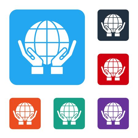 White Human hands holding Earth globe icon isolated on white background. Save earth concept. Set icons in color square buttons. Vector Ilustrace