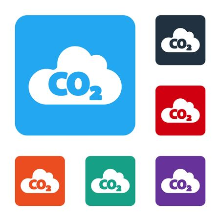 White CO2 emissions in cloud icon isolated on white background. Carbon dioxide formula, smog pollution concept, environment concept. Set icons in color square buttons. Vector Ilustrace