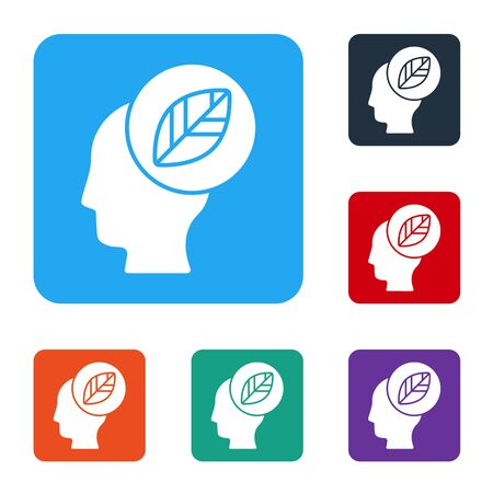 White Human head with leaf inside icon isolated on white background. Set icons in color square buttons. Vector