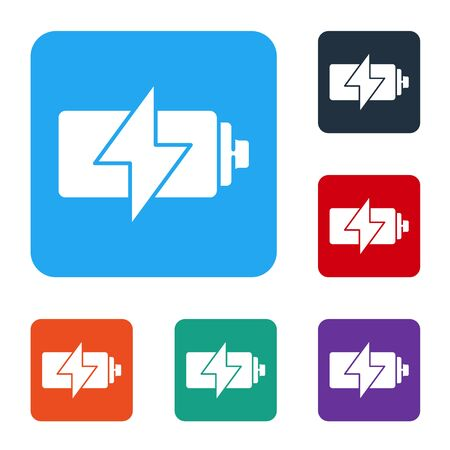 White Battery icon isolated on white background. Lightning bolt symbol. Set icons in color square buttons. Vector