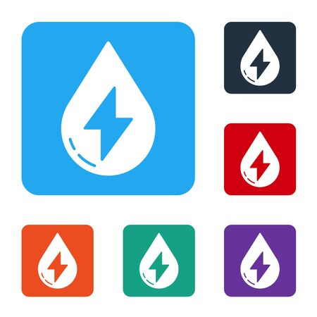 White Water energy icon isolated on white background. Ecology concept with water droplet. Alternative energy concept. Set icons in color square buttons. Vector Standard-Bild - 147585985