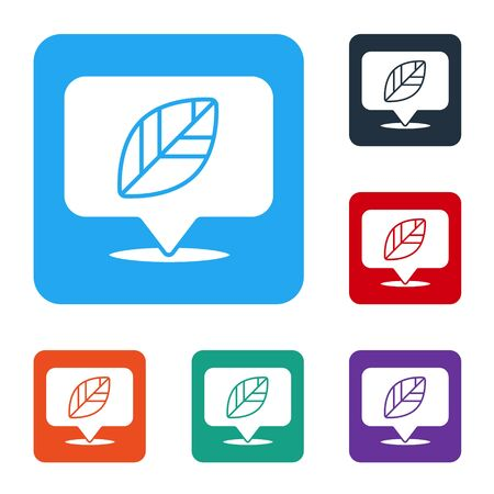 White Location pin with leaf inside icon isolated on white background. Set icons in color square buttons. Vector