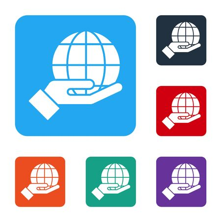 White Human hand holding Earth globe icon isolated on white background. Save earth concept. Set icons in color square buttons. Vector Ilustrace