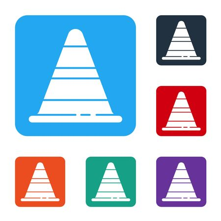 White Traffic cone icon isolated on white background. Set icons in color square buttons. Vector