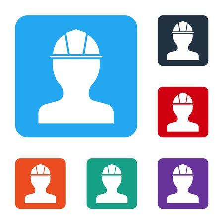 White Worker safety helmet icon isolated on white background. Set icons in color square buttons. Vector