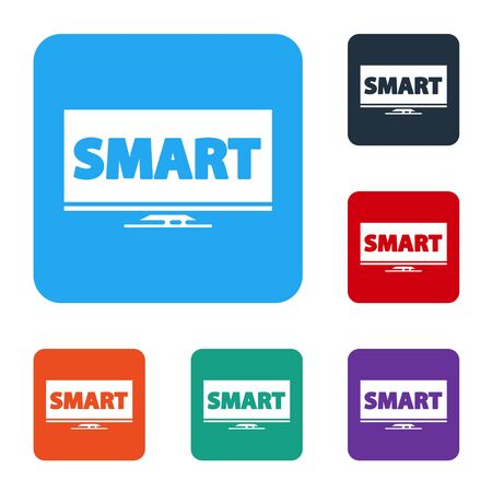 White Screen tv with Smart video technology icon isolated on white background. Set icons in color square buttons. Vector