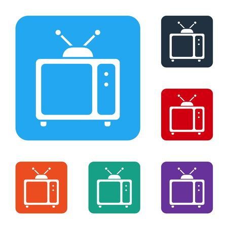 White Retro tv icon isolated on white background. Television sign. Set icons in color square buttons. Vector Иллюстрация